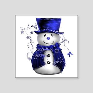 "Cute Snowman in Blue Velvet Square Sticker 3"" x 3"""