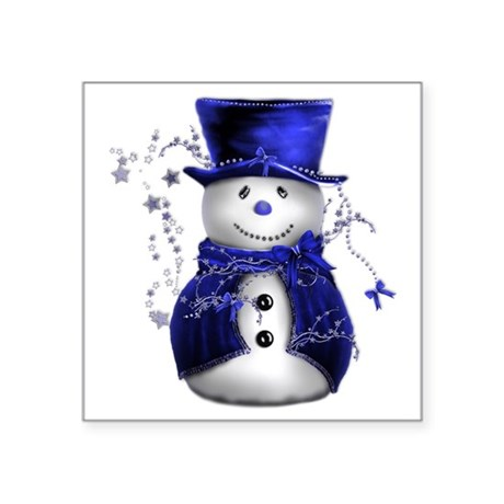 "Cute Snowman in Blue Velvet Square Sticker 3"" x 3"""