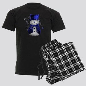 Cute Snowman in Blue Velvet Men's Dark Pajamas