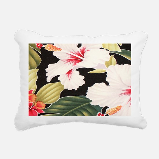 Black Retro Hawaii Hibis Rectangular Canvas Pillow