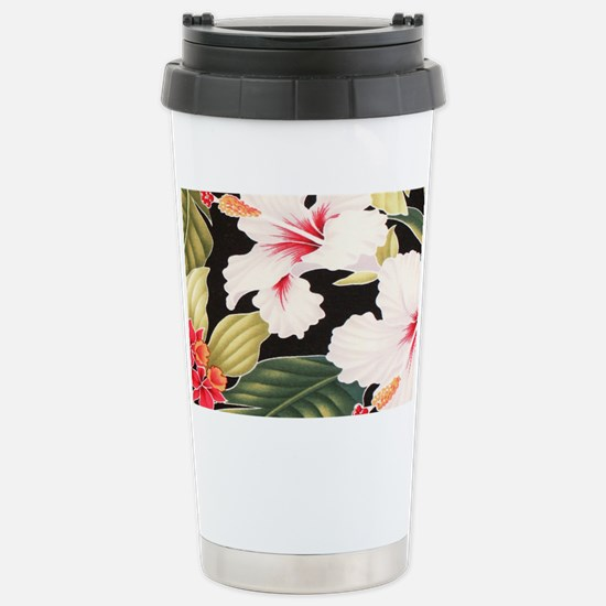Black Retro Hawaii Hibi Stainless Steel Travel Mug