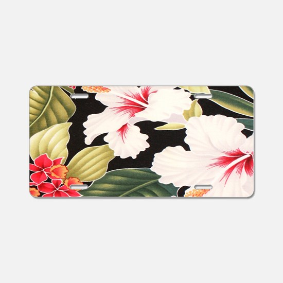 Black Retro Hawaii Hibiscus Aluminum License Plate