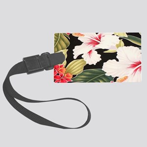 Black Retro Hawaii Hibiscus Large Luggage Tag
