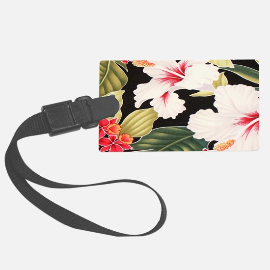 Black Retro Hawaii Hibiscus Luggage Tag