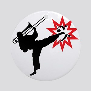 Karate and Music together in one im Round Ornament