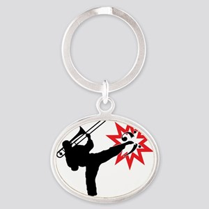 Karate and Music together in one ima Oval Keychain