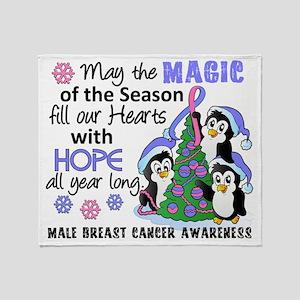 D Male Breast Cancer Christmas Pengu Throw Blanket