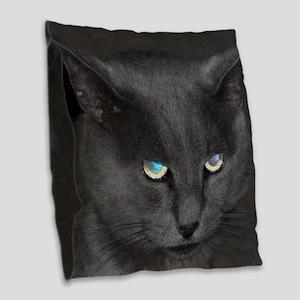 Unique Cat w/ Cool Eyes Burlap Throw Pillow