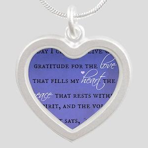 Today I chose Gratitude, Lov Silver Heart Necklace
