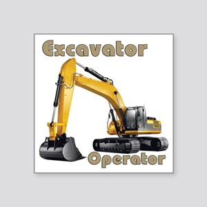"Excavator Square Sticker 3"" x 3"""
