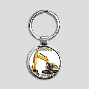 Excavator Round Keychain