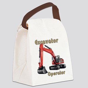 Red Excavator Canvas Lunch Bag