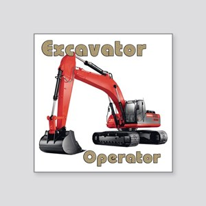 "Red Excavator Square Sticker 3"" x 3"""