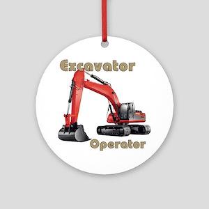 Red Excavator Round Ornament