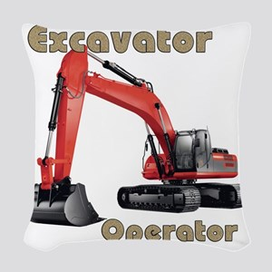 Red Excavator Woven Throw Pillow