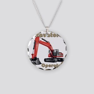 Red Excavator Necklace Circle Charm