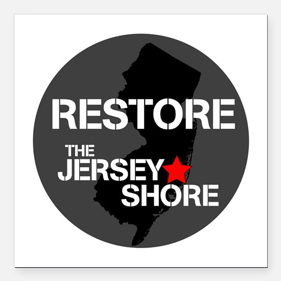 """Restore The Jersey Shore Square Car Magnet 3"""" x 3"""""""