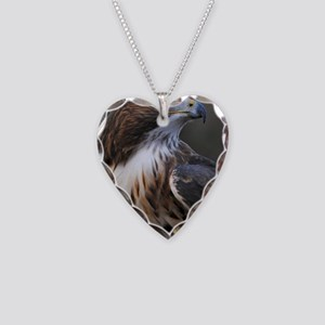Red-tailed Hawk Necklace Heart Charm
