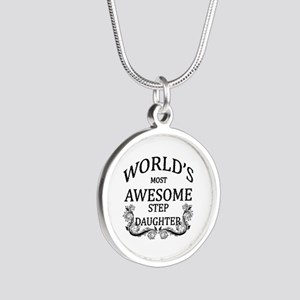 World's Most Awesome Step-Daughter Silver Round Ne