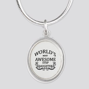 World's Most Awesome Step-Daughter Silver Oval Nec