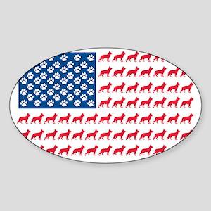 German Shepherd Patriotic USA Flag Sticker (Oval)
