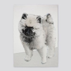 Keeshond Puppy (Drawing) 5'x7'Area Rug