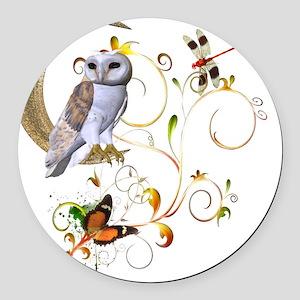 Owl Fantasy Round Car Magnet