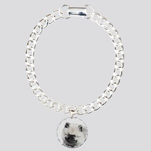 Keeshond Puppy (Drawing) Charm Bracelet, One Charm