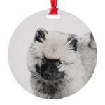 Keeshond Puppy (Drawing) Round Ornament