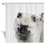 Keeshond Puppy (Drawing) Shower Curtain