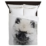 Keeshond Puppy (Drawing) Queen Duvet