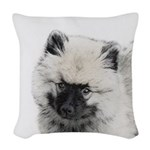 Keeshond Puppy (Drawing) Woven Throw Pillow