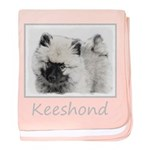 Keeshond Puppy (Drawing) baby blanket