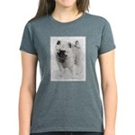 Keeshond Puppy (Drawing) Women's Dark T-Shirt