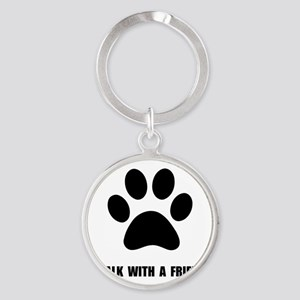 Walk Pet Round Keychain
