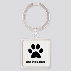 Walk Pet Square Keychain