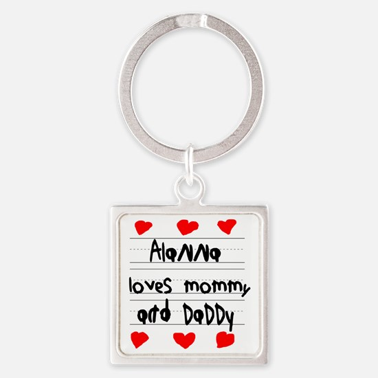 Alanna Loves Mommy and Daddy Square Keychain