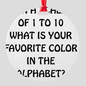 Favorite Color Alphabet Round Ornament