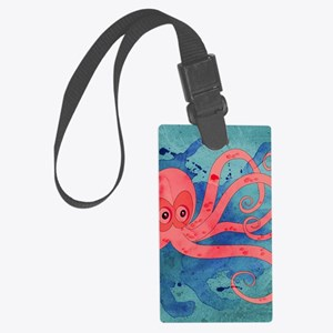 Pink Octopus Large Luggage Tag