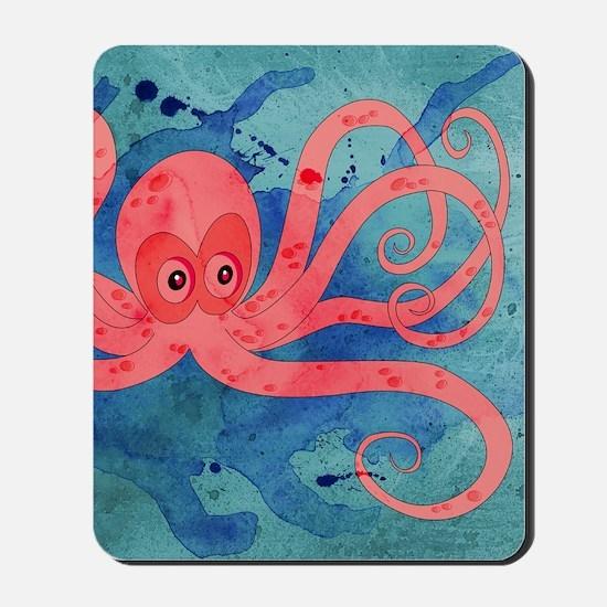 Pink Octopus Mousepad