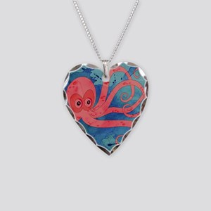 Pink Octopus Necklace Heart Charm