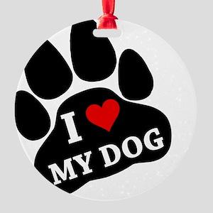 I Heart My Dog Round Ornament