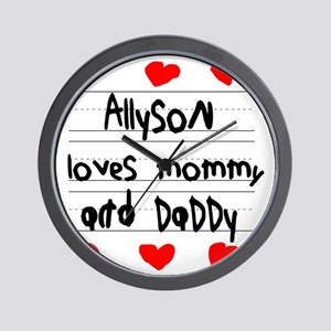 Allyson Loves Mommy and Daddy Wall Clock
