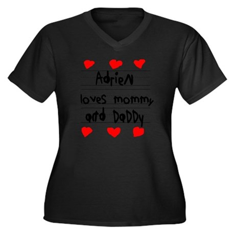 Adrien Loves Women's Plus Size Dark V-Neck T-Shirt