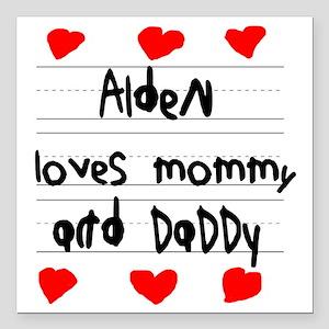 """Alden Loves Mommy and Da Square Car Magnet 3"""" x 3"""""""