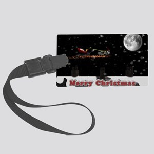 Christmas Cow over roof tops Large Luggage Tag