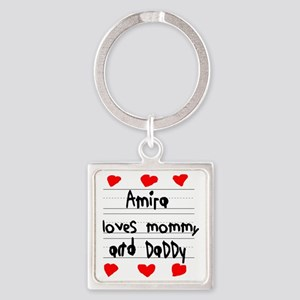 Amira Loves Mommy and Daddy Square Keychain