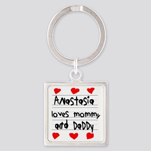 Anastasia Loves Mommy and Daddy Square Keychain