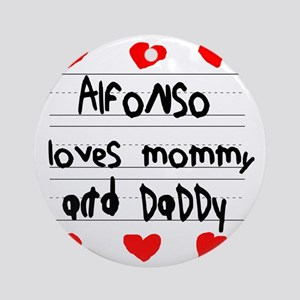 Alfonso Loves Mommy and Daddy Round Ornament