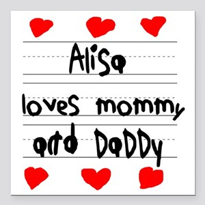 "Alisa Loves Mommy and Da Square Car Magnet 3"" x 3"""